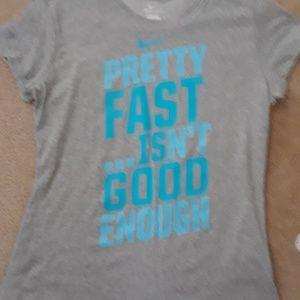 Nike Dri-Fit Gray Teal Blue T Shirt Size Large